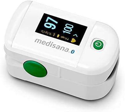 Medisana PM 100 Connect Oxímetro de pulso medición de la saturación de oxígeno en la sangre, para el dedo con pantalla OLED con la aplicación VitaDock+ y el Bluetooth (79456)