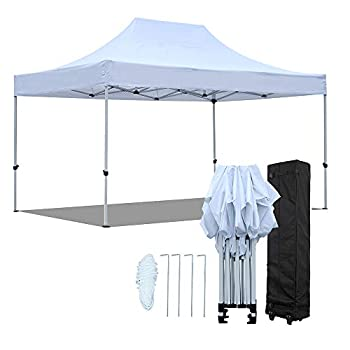 Pop Up Canopy Tent 10 x 15FT Easy EZ Up Instant Shelter Shade Heavy Duty Steel Frame Outdoor Commercial Party Events Popup Canopy with Portable Roller Bag Water Resistant 420D Fabric White