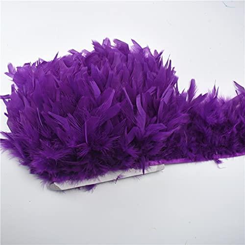 LINGP 2 Yardas/Lote Cinta de Flecos de Plumas de Pavo 5-6 Pulgadas Plumas de Pavo Recortar Falda Vestido decoración de Plumas DIY