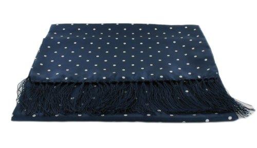 Michelsons of London Bleu marine large écharpe à pois en soie de