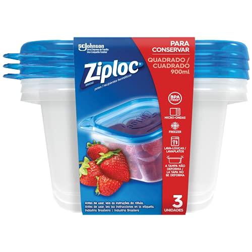 Pote Plástico Ziploc 900ml com 3 unidades