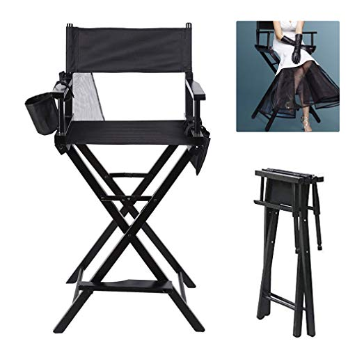 Folding Director Makeup Chair Wooden Frame Artist Directors Chair Light Weight With Arms, 2 Storage Pouches for Camping Fishing Garden, Black (1)