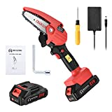 Mini Chainsaw Cordless Handheld 4-inch Battery Powered Portable Electric Hand Saw Pruning Chainsaw with Rechargeable Battery for Tree Branch Trimming Wood Cutting