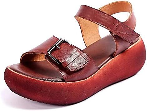 ZAIXO New Retro Summer Women Sandals Leather Open Toe Shoes Casual High Heel Wedges Platform Sandals Woman Women Sandals (Color : Brown, Shoe Size : 9)