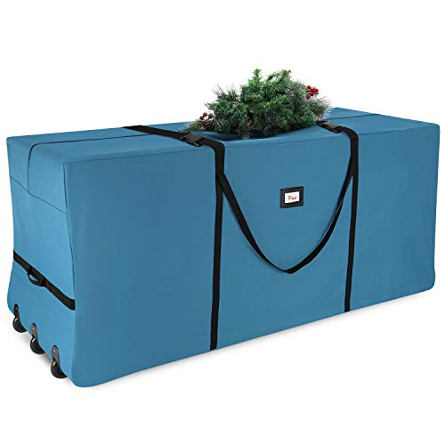 Christmas Tree Storage Bag - Extra Large Tree Rolling Storage Bag - Fits Upto 9 ft. Artificial Disassembled Trees, Durable Handles & Wheels for Easy Carrying & Transport - Tear Proof Oxford Duffle Bag