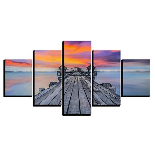 LAKHAFZY Leinwandbild 5 Wandkunst Bilder Home Decor Sunrise Lake Bridge Pavillon Gemälde Hd Drucke Sonnenuntergang Seascape Poster Rahmen