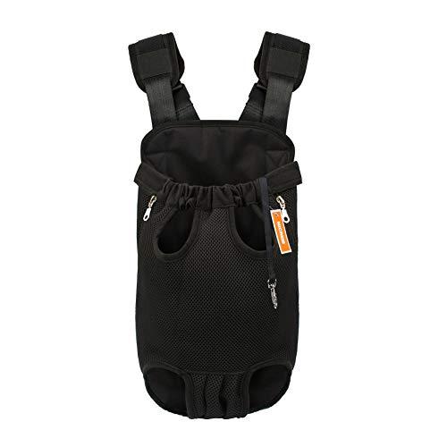 NICREW Mochila del Perro, Bolso para Perros y Gatos, Adjustable Bolsa Delantera Pet Front Cat Dog Carrier Backpack, Viaje Bolsa de Transporte de Mascotas para Viajar/Senderismo/Camping-XL-Negro