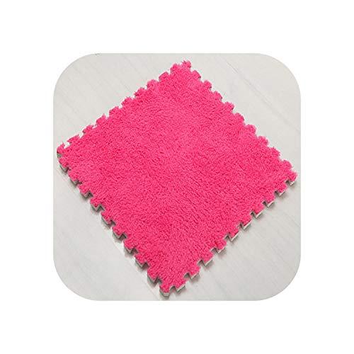 Big Incisor Bikini Bereich Teppich Schlafzimmer |1Stück 30x30CM Schaum DIY Puzzle Spielmatte Langes Haar Villi Shaggy Teppich Matte Plüsch Kinder Baby Soft Area Teppich für Wohnzimmer-1PC Rose Red-