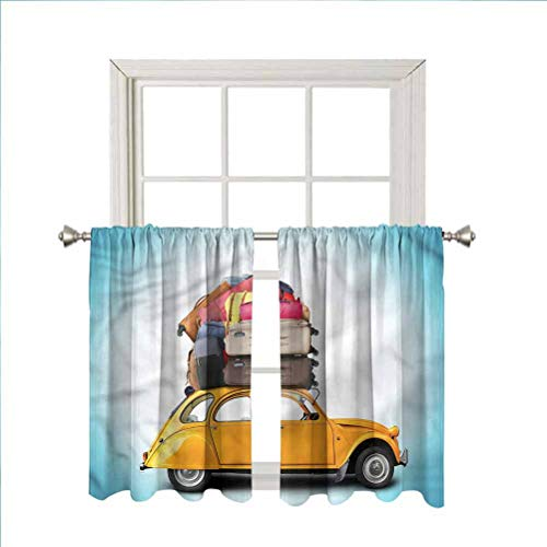 LCGGDB Travel Rod Pocket Blackout Curtain Panels,Old Car with Luggage Home Decor Window Treatments Draperies for Bedroom/Nursery/Kitchen/Living Room,42 x 54 Inch, 2 Panels
