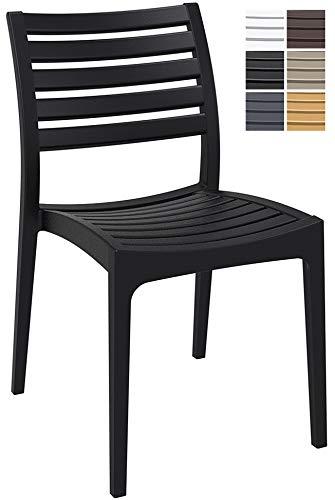 CLP Gartenstuhl ARES aus Kunststoff l Küchenstuhl belastbar bis 160 kg l Wasserabweisender, UV-beständiger Stapelstuhl, Farbe:schwarz