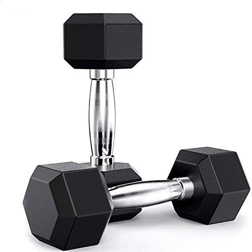 XIJING 2er Pack Gummi Hex Hantel / 15 Pfund Langhantel/Gewichte Workout Hanteln Set mit ergonomischen Metallgriffen für Heimgymnastik Übung Männer Frauen