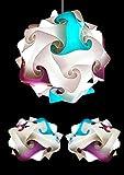 Bellissimo SET Lampade MODERNE STANZA DA LETTO Lampadario sfera design FIOCCO 35 cm + 2 abat-jour comodino UFO Luci casa colorate su misuraCeleste e Viola Camera donna bambina