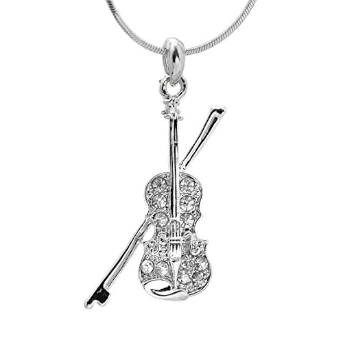 Spinningdaisy Silver Plated Crystal Violin with Bow Necklace