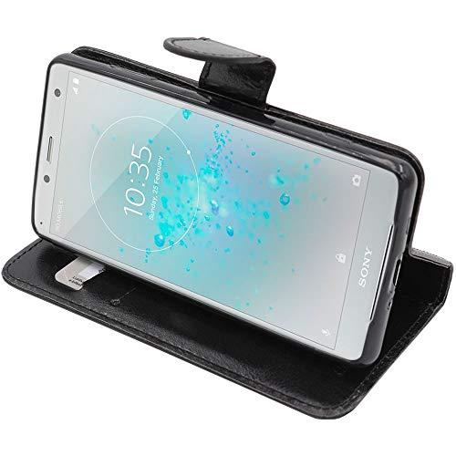 ebestStar - kompatibel mit Sony Xperia XZ2 Compact Hülle Kunstleder Wallet Hülle Handyhülle [PU Leder], Kartenfächern, Standfunktion, Schwarz [Phone: 135 x 65 x 12.1mm, 5.0'']