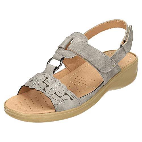 Cushion-Walk Open Toe Wedge Heel Sandals Slingback Grey 5 UK