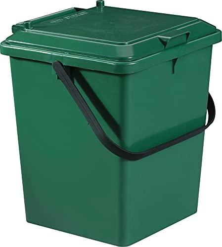 Garantia Bio-Eimer 8 Liter (Kunststoffbehälter, Bio-Mülleimer, LxBxH 20x24x30 cm, mit Klapp-Deckel, Mehrzweckeimer, stapelbar, mit Tragegriff) 640010