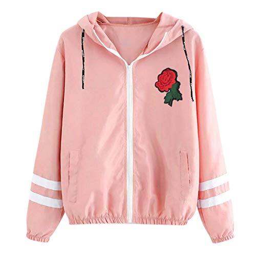 KANGMOON Jacken Damen Frauen Lange Hülsen Rosen dünne mit Kapuze Reißverschluss Blumentaschen Sport Mantel Winterjacke Trenchcoat PlüSchjacke Strickjacke Jacke Windjacke