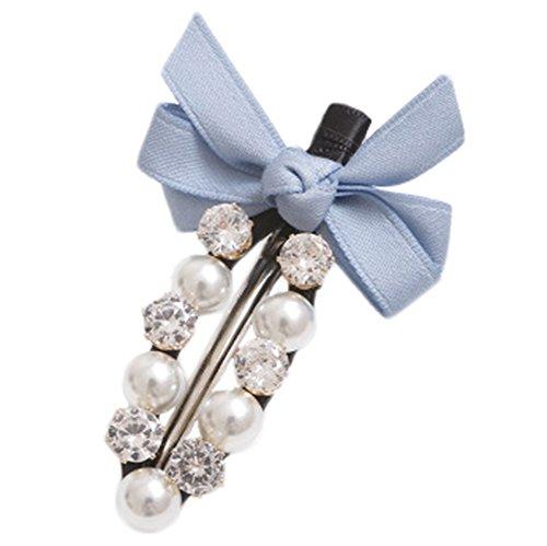 Milopon Pinces à Cheveux Forme de Bowknot avec Strass Charme Coiffure Accessoires Pour Femme Fille Cadeau Anniversaire Bleu