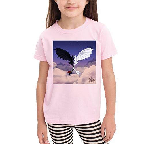 2-6 Years Old Boys and Girls How to Train Your Dragon Pure Cotton Classic Comfortable Short Sleeves Pink 3t