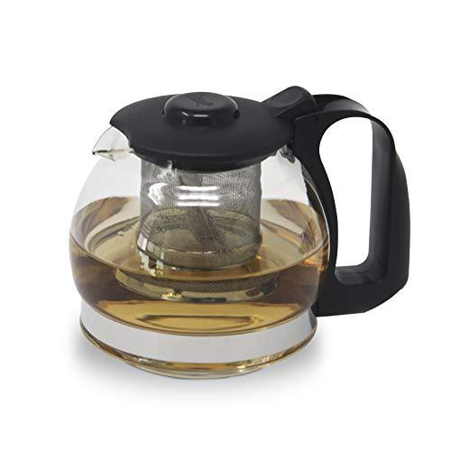 Bazzeff Tetera de vidrio templado ideal para Té, Tisanas y bebidas calientes. Tetera con infusor en el interior para un uso sencillo y rápido. Tizana infusor. Tea kettle.