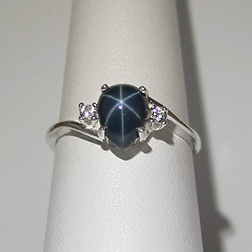 Genuine Blue Star Sapphire Sterling Silver Ring with Diamond Accents/Pear-Shaped