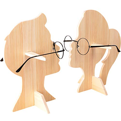 Umoraメガネホルダー サングラス 眼鏡スタンド 木製 ラック 眼鏡置き ディスプレー用 展示 収納 ラック メガネディスプレイ モデル (男の子+女の子)