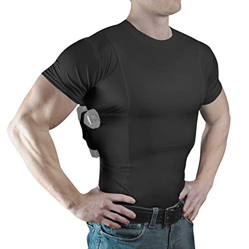 ConcealmentClothes Men's Crew Neck Undercover- Concealed Carry Holster Shirt- Black- XXX-Large