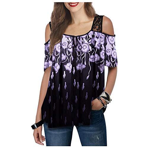 Dames kanten blouse met korte mouwen en bedrukt T-shirt Comfortabel koel ijs zijden gevoel