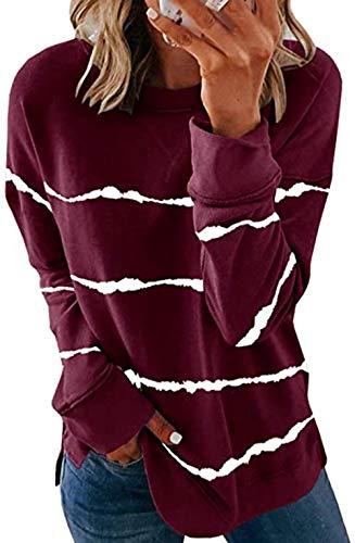 QSDM Camisetas y Blusas para Mujer Sudaderas de Mujer Tops Suéter Holgado de Manga Larga con Cuello Redondo y Rayas Estampadas con teñido Anudado para Mujer-Vino Tinto_Metro
