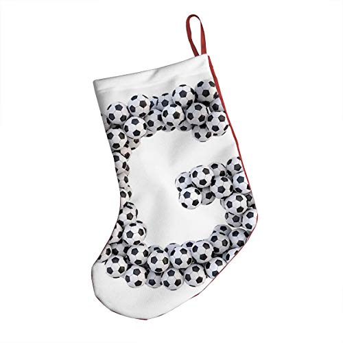 GULTMEE Christmas Stocking,Goal Themed Footballs Alphabet Soccer Arrangement Capital Letter Composition,Xmas Holiday Stocking Tube Socks 18 Inches