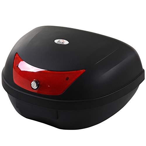 HOMCOM Baúl de Moto Maletero de Scooter para 1 Casco Integral y 1 Medio Capacidad de 48 L Cerradura con Dos Llaves Accesorios 59x43x33 cm Negro