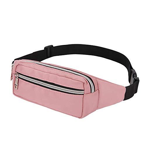 LIVACASA Outlet Riñoneras Mujeres Deportiva Moda Bolso Cintura Mujer Riñoneras de Marcha con Cremallera Running al Aire Libre Rosa