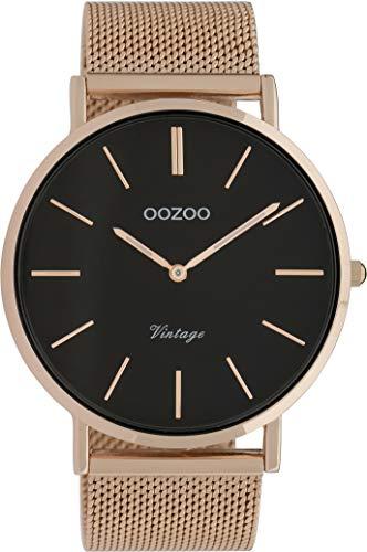OOZOO Vintage Rosegoudkleurig/Zwart horloge C9924 (44 mm)