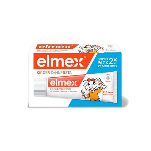 elmex Kinder-Zahnpasta, Doppelpack (2 x 50 ml) - Zahncreme für Kinder von 2-6 Jahren mit mildem Geschmack, der besondere Kariesschutz für Milchzähne