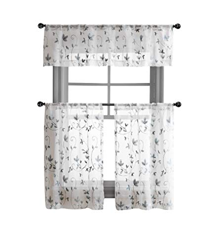 Cassandra Floral Embroidered Semi Sheer Kitchen Curtain Tier & Valance Set - Assorted Colors (Gray)