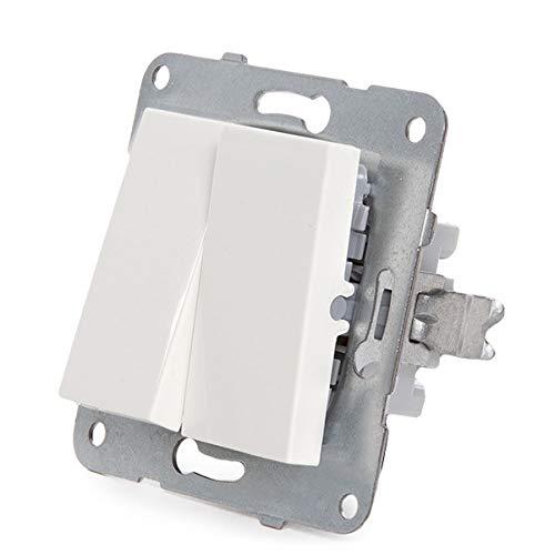 Greenice | Interruptor Doble Panasonic Karre 10A 250V/Bastidor Metálico con Garras/Tecla Blanca