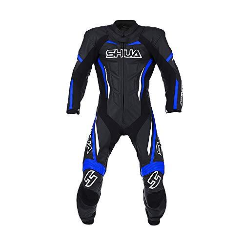 SHUA Trajes de cuero INFINITY Monos de piel moto hombres una pieza para racing (Negro/Azul, 58)