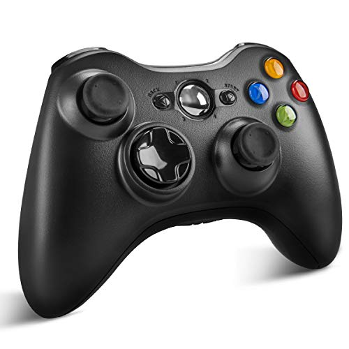 Wireless Controller for Xbox 360, YCCTEAM Wireless Game Controller Gamepad Joystick with Vibration & Shoulder Buttons for Microsoft Xbox 360/Xbox 360 Slim/PC Windows 7 8 10-Black