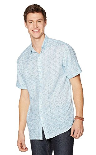 John Henry Men's Linen Blend Tile Print Short Sleeve Shirt (X-Large, Turkish Tile)