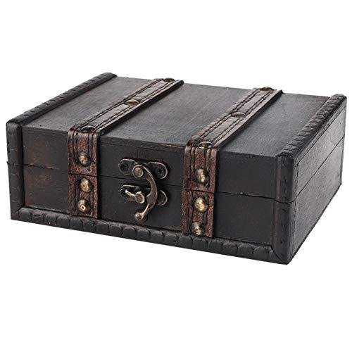 Caja de almacenamiento de madera, caja de madera vintage, aspecto retro Cerradura de madera de alta resistencia diseñada para joyas de pulsera (6273-01-do gris viejo)