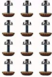 Leveling Feet Adjustable Furniture Levelers - 5/16 inch Threaded Shank w/T-Nuts Leg Leveler for Table,Chair and Furniture Legs- Adjusts from 0' to 1' - Pack of 12 (Coffee)