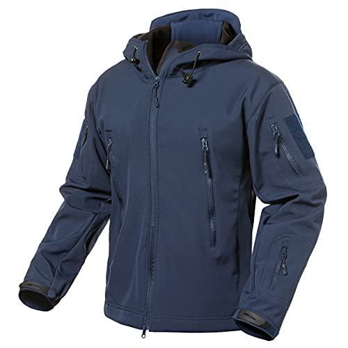 ReFire Gear Men's Army Special Ops Military Tactical Jacket Softshell Fleece Hooded Outdoor Coat, Navy Blue, Small