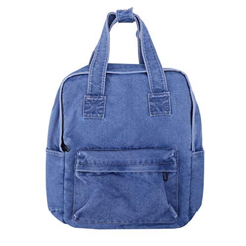 Nankod - Mochila para mujer, estilo vintage, para el hombro, estudiante, adolescente, casual, bolsas de escuela, universidad, libro, bolsas de viaje, azul claro