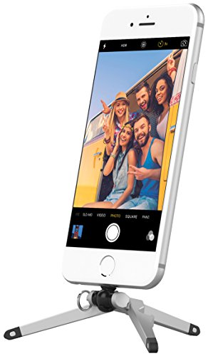 Kenu Stance 2.0 Kompaktstativ für Apple iPhone Xs/Xs Max/XR/X/8/8 Plus/7/7 Plus/6S/6S Plus/6/6 Plus/5/5C/5S/SE in silber/schwarz [Klein & kompakt (34g), Horizontal & Vertikal, Kugelgelenk, Flaschenöffner, Schlüsselring] - ST3-KK-NA