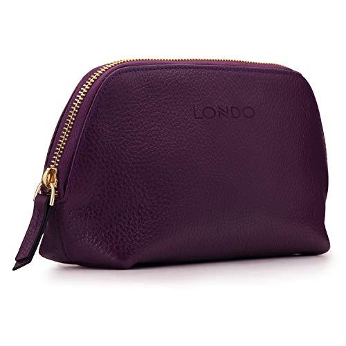 Londo Trousse à Maquillage en Cuir Véritable pour Cosmétiques, Pinceaux - Trousse de Toilette (Violet)