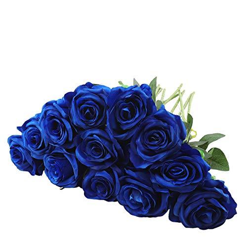 Rui Fiori 12 rosas artificiales de 50 cm de tallo largo de seda para decoración del hogar, boda, fiesta, oficina (azul)