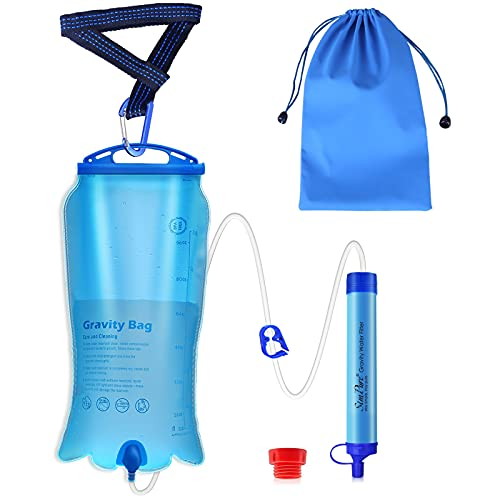 SimPure Gravity Water Filter Straw, Portable Water Purification Filtration System with 3L Gravity-Fed Bag, BPA Free Outdoor Survival Camping Gear Equipment for Camping Hiking Emergency Preparedness
