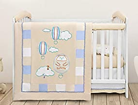 LaLaMe Organic Crib Bedding Set, 9 Piece – Rail Covers, Skirt, Sheets, Swaddle Blankets, Quilt for Baby Boys and Girls, Breathable and Safe Crib Set Made with Organic Cotton, Neutral Colors Decoration