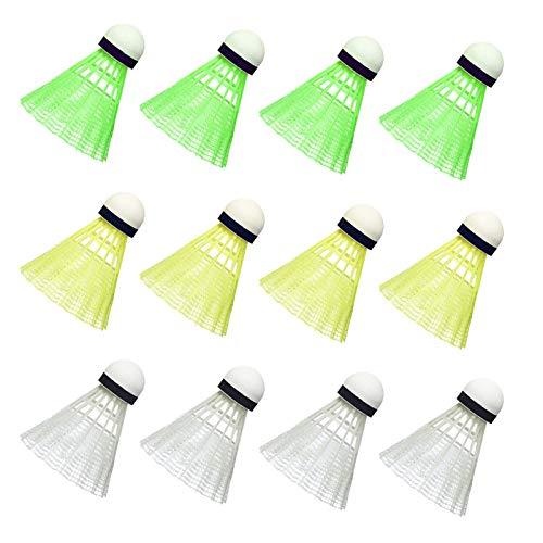12PCS Volantes bádminton, Plástico Colorido Volantes Pluma Coloreado Pluma Badminton Set para Juegos de Interior al Aire Libre, Deportes, Entretenimiento, Accesorios Deportivos