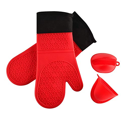 fisek Professional Silicone Oven Mitt red
